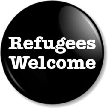 Refugees Welcome Pinback Button Badge Anti War Political Protest Peace Asylum - Black Bold